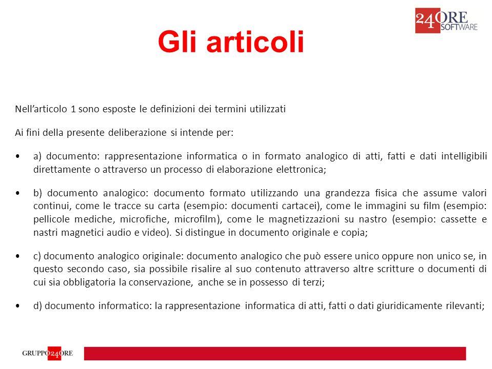 Gli articoli Nell'articolo 1 sono esposte le definizioni dei termini utilizzati. Ai fini della presente deliberazione si intende per: