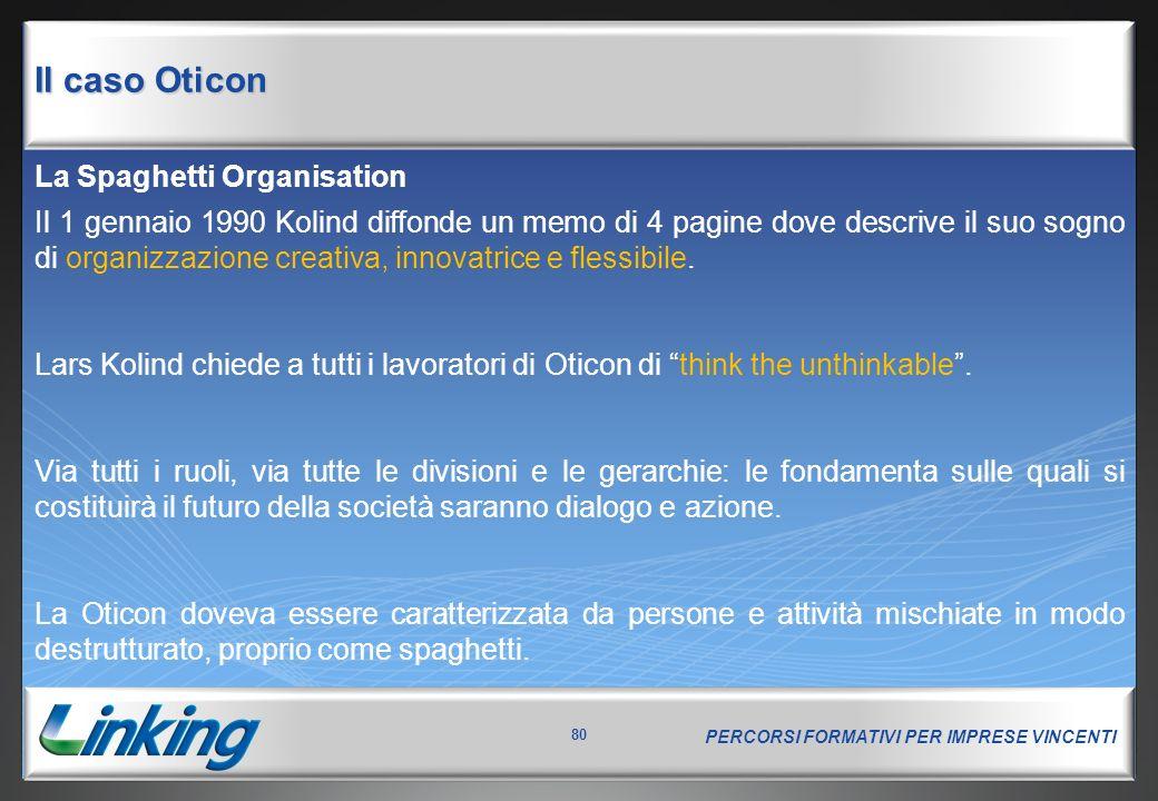 Il caso Oticon Le novità introdotte: tecnologie, strutture, logica di gruppo. Si adotta una logica informativa di GROUPWARE: