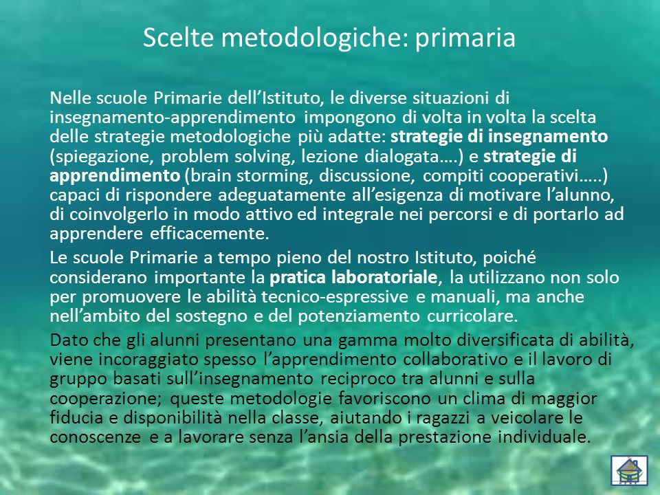Scelte metodologiche: primaria