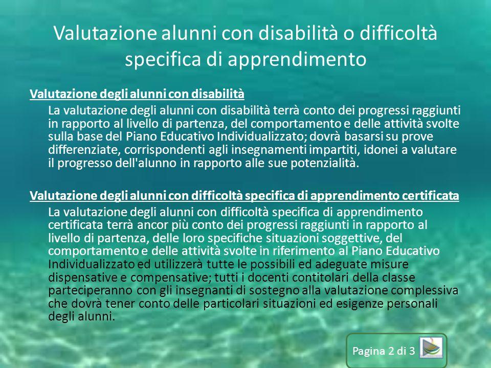 Valutazione alunni con disabilità o difficoltà specifica di apprendimento