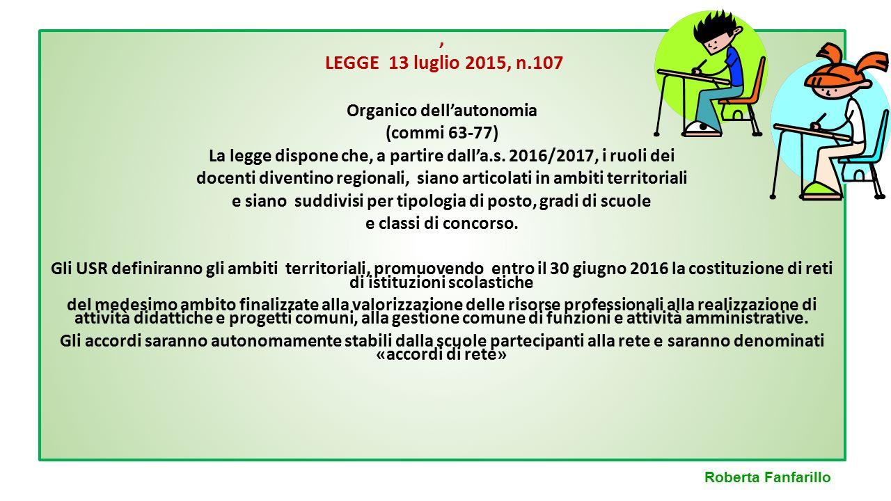, LEGGE 13 luglio 2015, n.107 Organico dell'autonomia (commi 63-77)