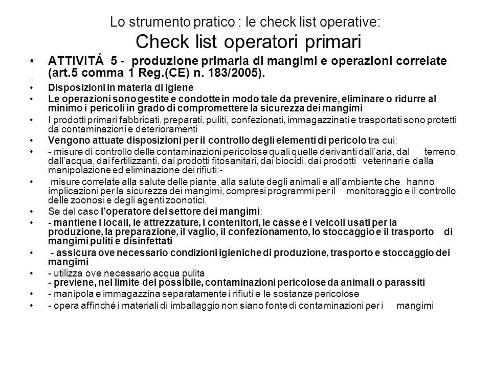 Lo strumento pratico : le check list operative: Check list operatori primari