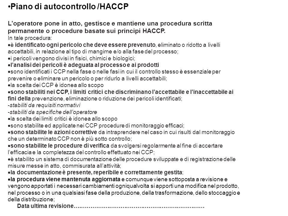 Piano di autocontrollo /HACCP
