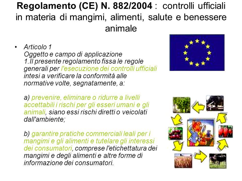 Regolamento (CE) N. 882/2004 : controlli ufficiali in materia di mangimi, alimenti, salute e benessere animale
