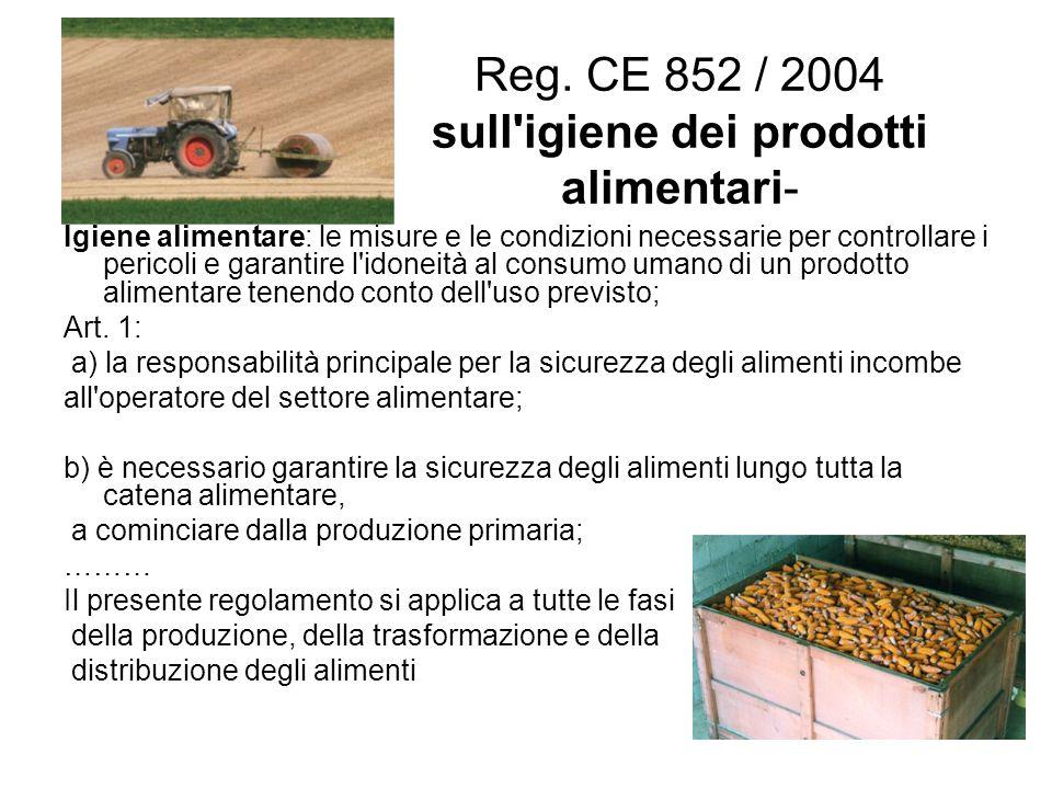 Reg. CE 852 / 2004 sull igiene dei prodotti alimentari-