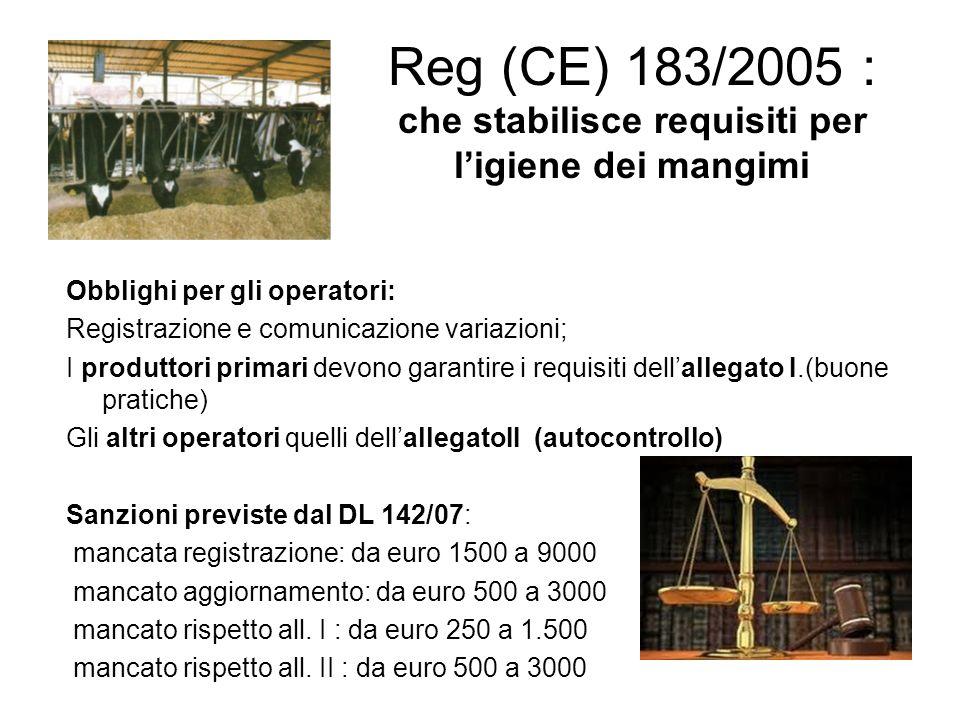Reg (CE) 183/2005 : che stabilisce requisiti per l'igiene dei mangimi