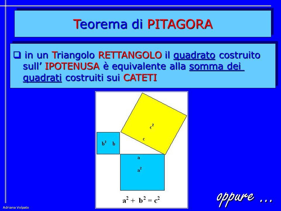 oppure … Teorema di PITAGORA