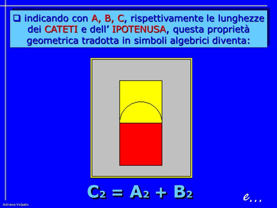 e… C2 = A2 + B2 indicando con A, B, C, rispettivamente le lunghezze