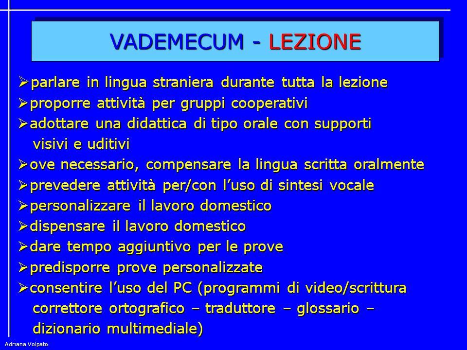 VADEMECUM - LEZIONE parlare in lingua straniera durante tutta la lezione. proporre attività per gruppi cooperativi.