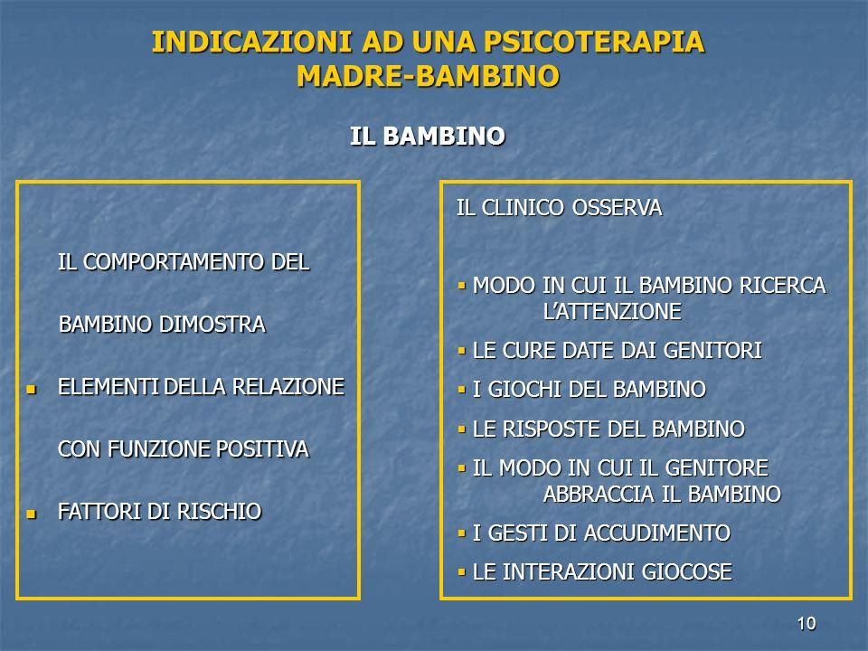 INDICAZIONI AD UNA PSICOTERAPIA MADRE-BAMBINO IL BAMBINO
