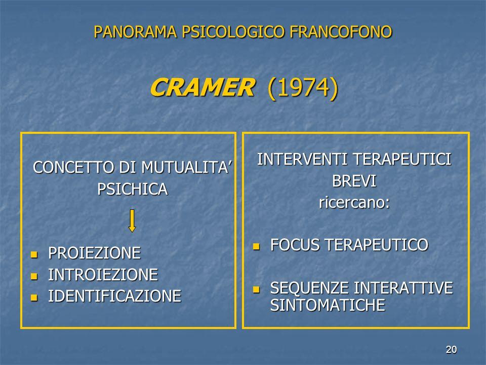 PANORAMA PSICOLOGICO FRANCOFONO CRAMER (1974)