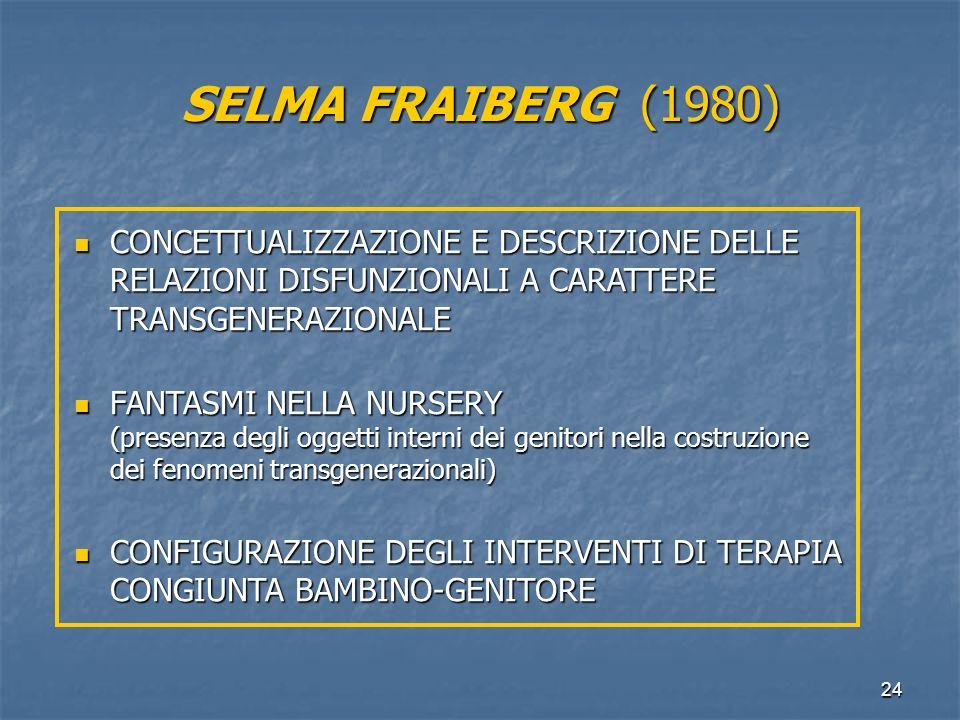 SELMA FRAIBERG (1980) CONCETTUALIZZAZIONE E DESCRIZIONE DELLE RELAZIONI DISFUNZIONALI A CARATTERE TRANSGENERAZIONALE.