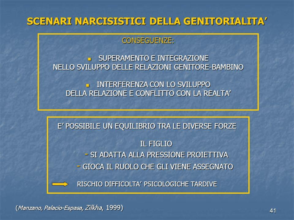 SCENARI NARCISISTICI DELLA GENITORIALITA'