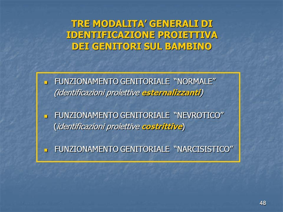 TRE MODALITA' GENERALI DI IDENTIFICAZIONE PROIETTIVA DEI GENITORI SUL BAMBINO