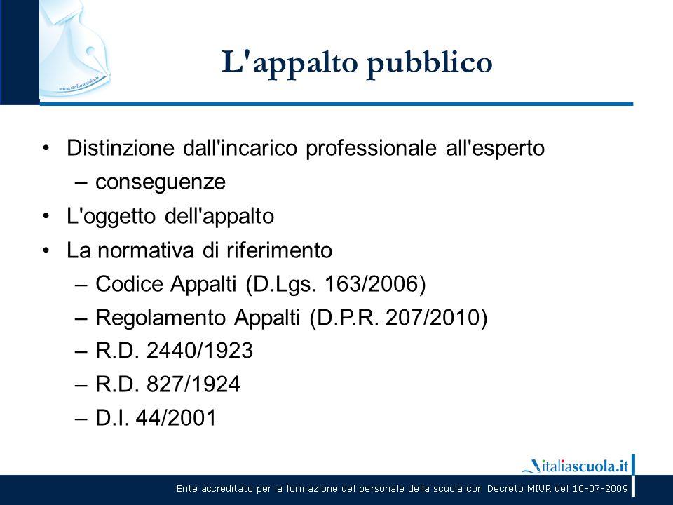 L appalto pubblico Distinzione dall incarico professionale all esperto