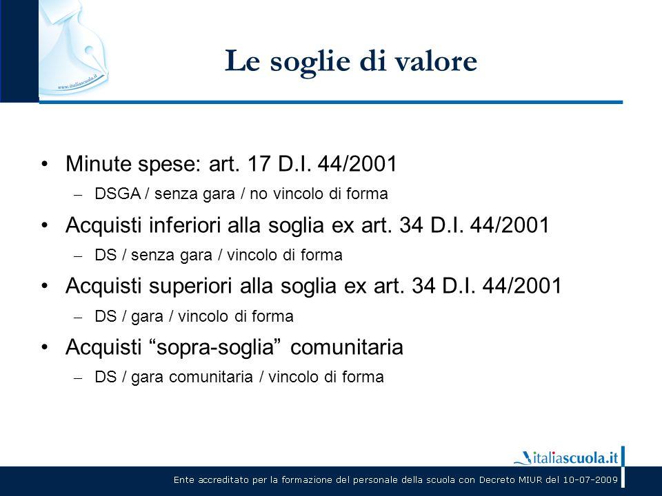 Le soglie di valore Minute spese: art. 17 D.I. 44/2001