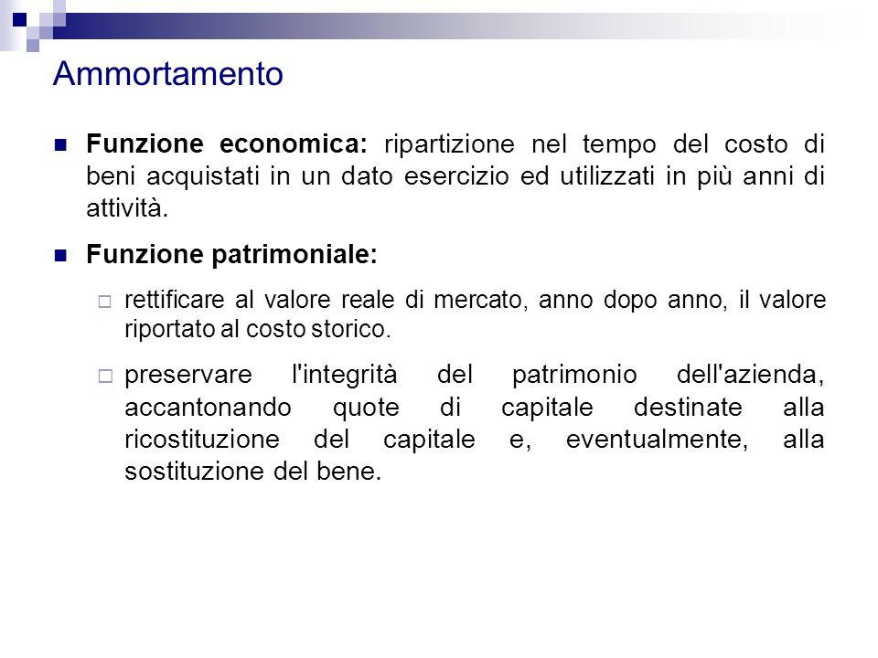 Ammortamento Funzione economica: ripartizione nel tempo del costo di beni acquistati in un dato esercizio ed utilizzati in più anni di attività.