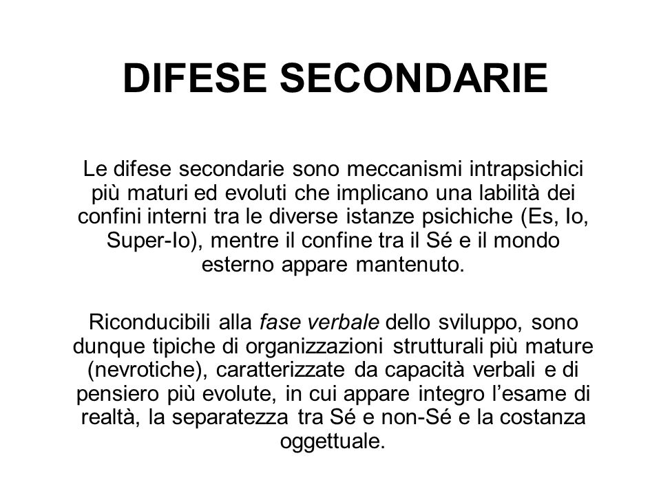 DIFESE SECONDARIE