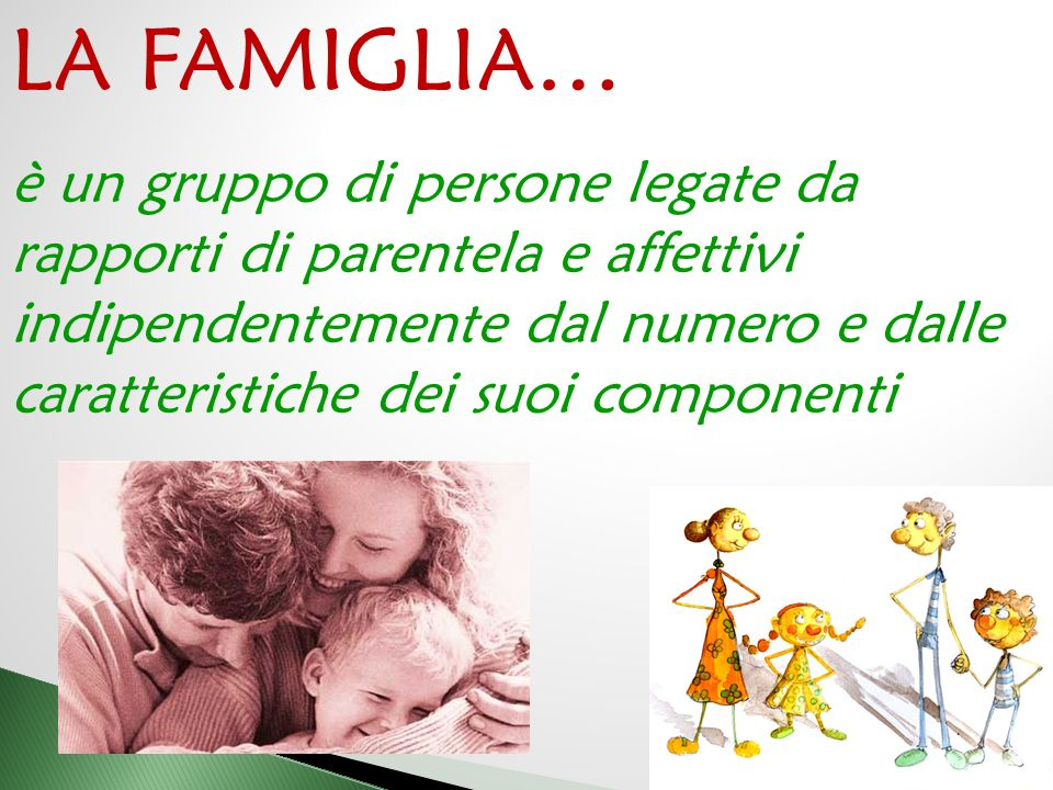 LA FAMIGLIA… è un gruppo di persone legate da rapporti di parentela e affettivi.