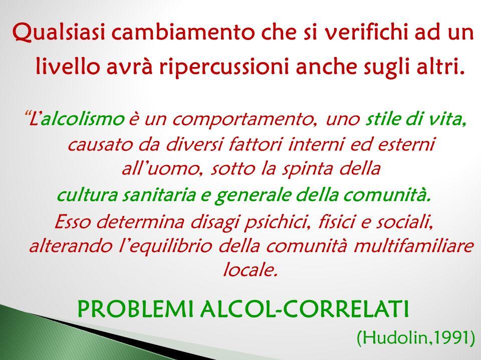 cultura sanitaria e generale della comunità. PROBLEMI ALCOL-CORRELATI