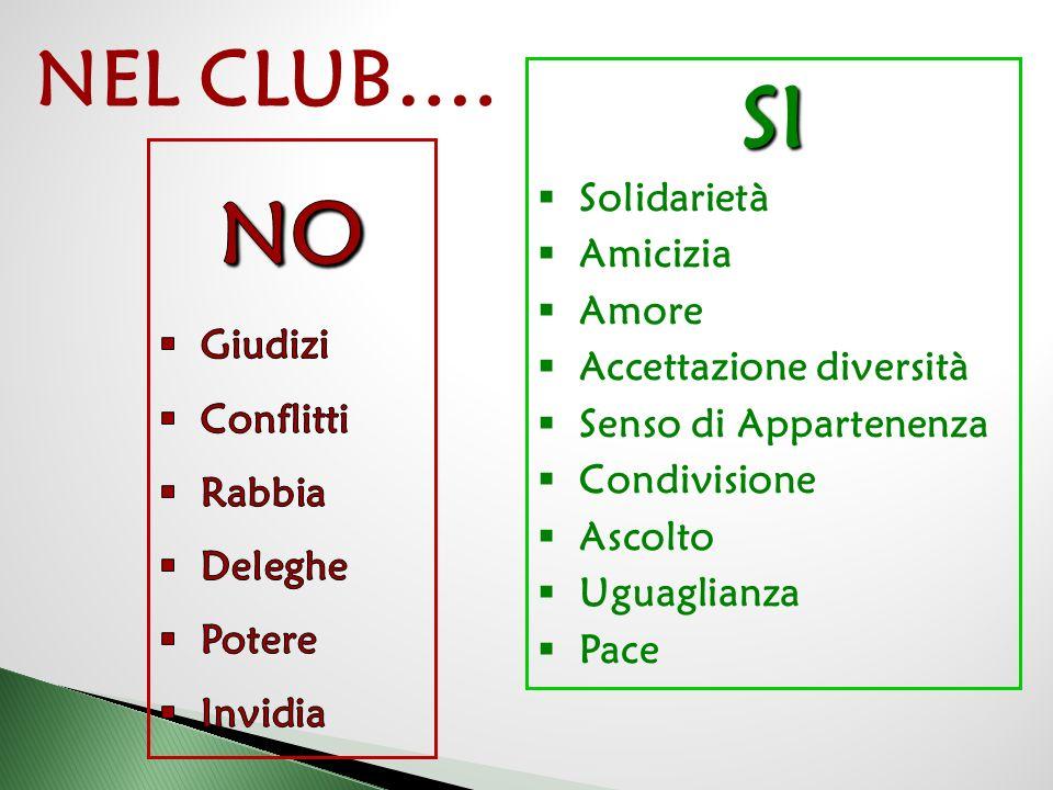 SI NO NEL CLUB…. Solidarietà Amicizia Amore Accettazione diversità