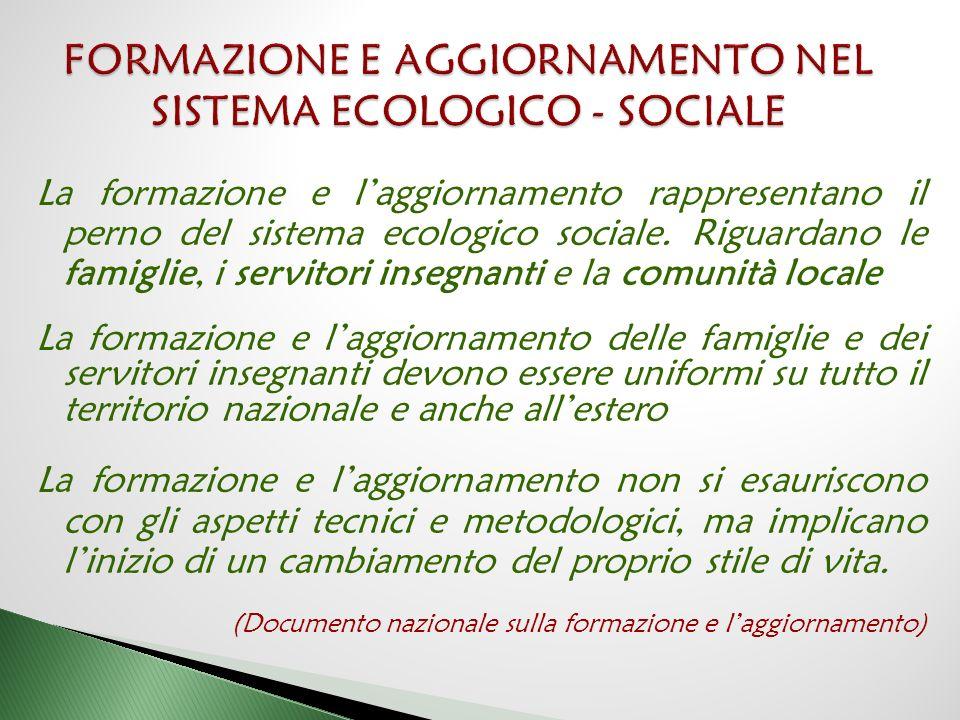 FORMAZIONE E AGGIORNAMENTO NEL SISTEMA ECOLOGICO - SOCIALE