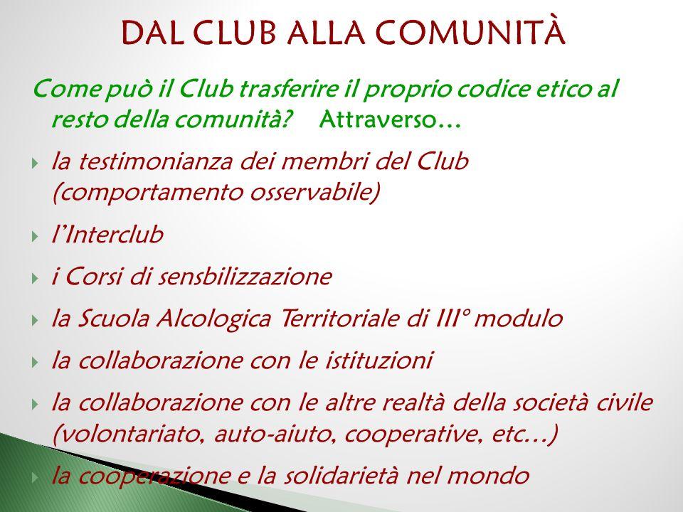 DAL CLUB ALLA COMUNITÀ Come può il Club trasferire il proprio codice etico al resto della comunità Attraverso…