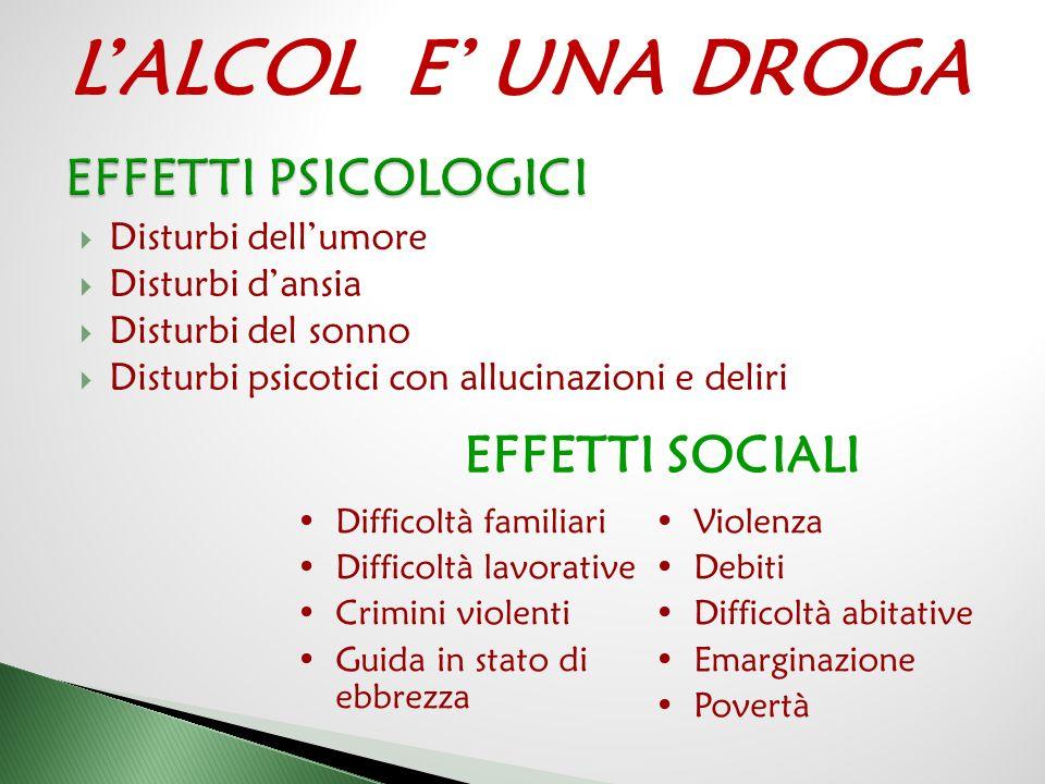 L'ALCOL E' UNA DROGA EFFETTI PSICOLOGICI EFFETTI SOCIALI