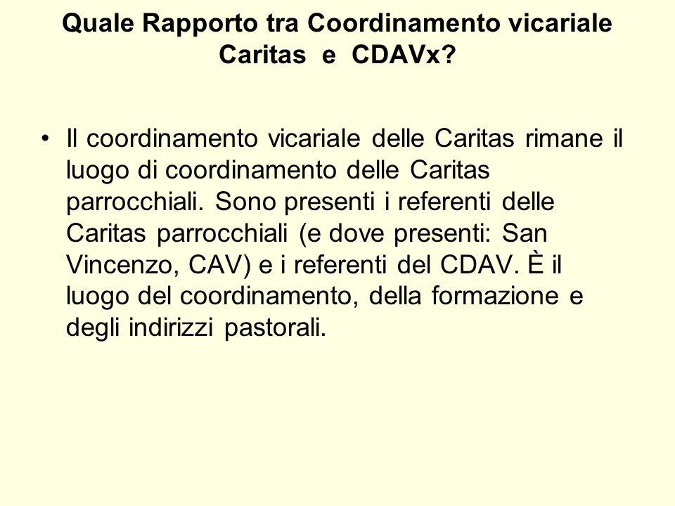 Quale Rapporto tra Coordinamento vicariale Caritas e CDAVx