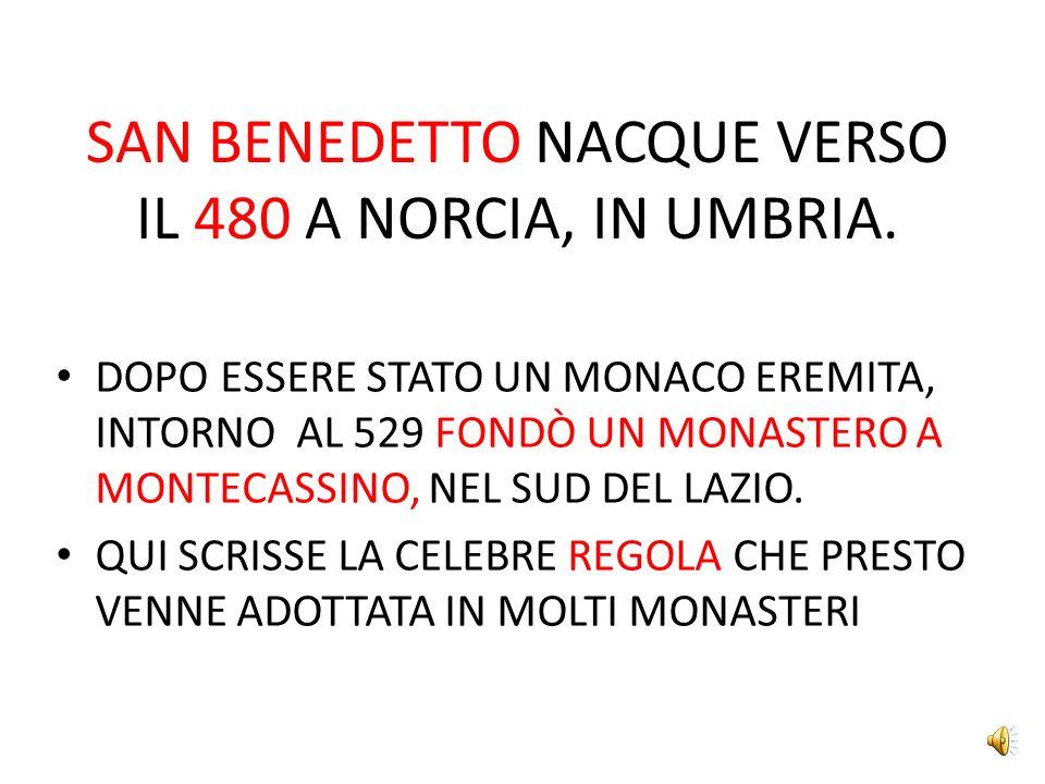 SAN BENEDETTO NACQUE VERSO IL 480 A NORCIA, IN UMBRIA.