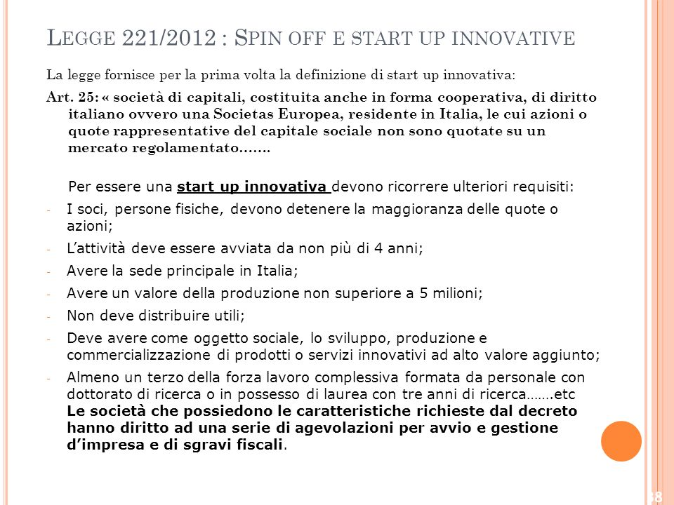 Legge 221/2012 : Spin off e start up innovative