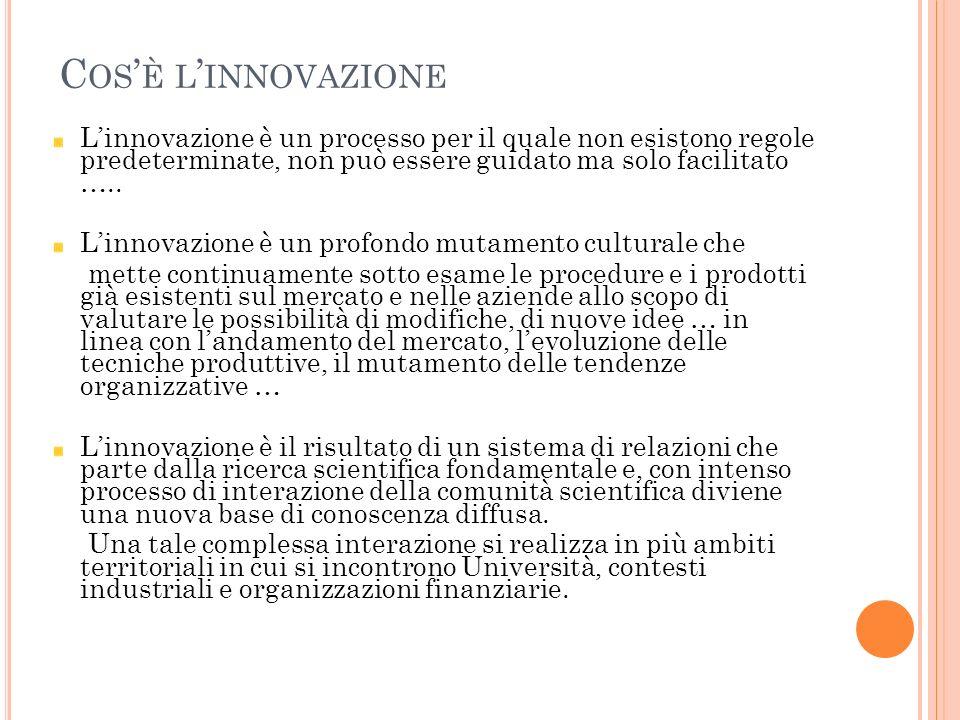 Cos'è l'innovazione L'innovazione è un processo per il quale non esistono regole predeterminate, non può essere guidato ma solo facilitato …..