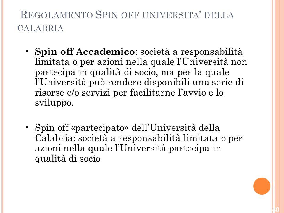 Regolamento Spin off universita' della calabria