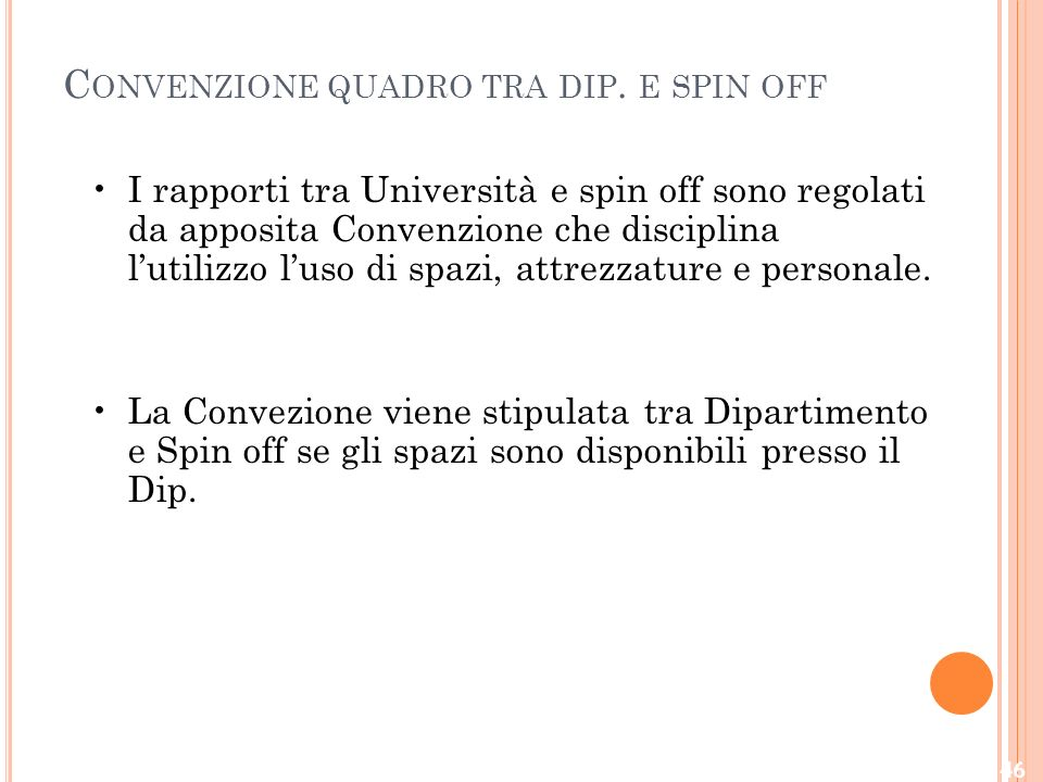 Convenzione quadro tra dip. e spin off