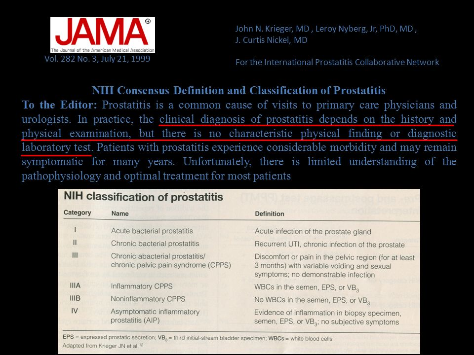 NIH Consensus Definition and Classification of Prostatitis
