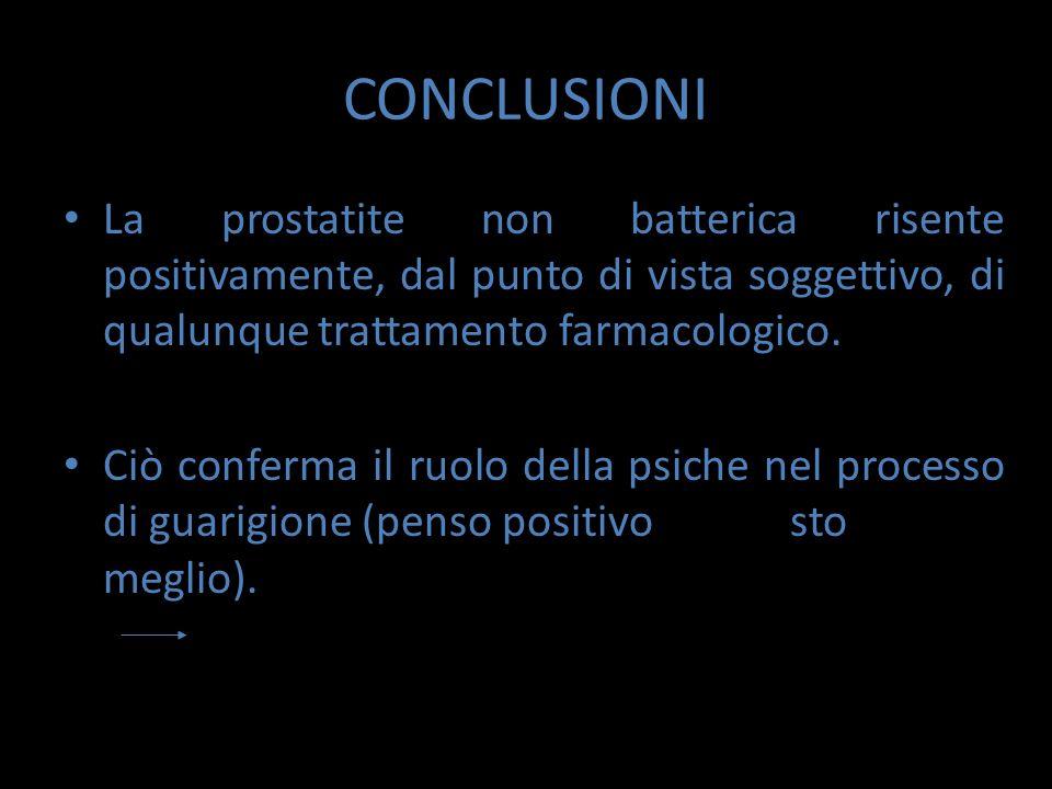 CONCLUSIONI La prostatite non batterica risente positivamente, dal punto di vista soggettivo, di qualunque trattamento farmacologico.