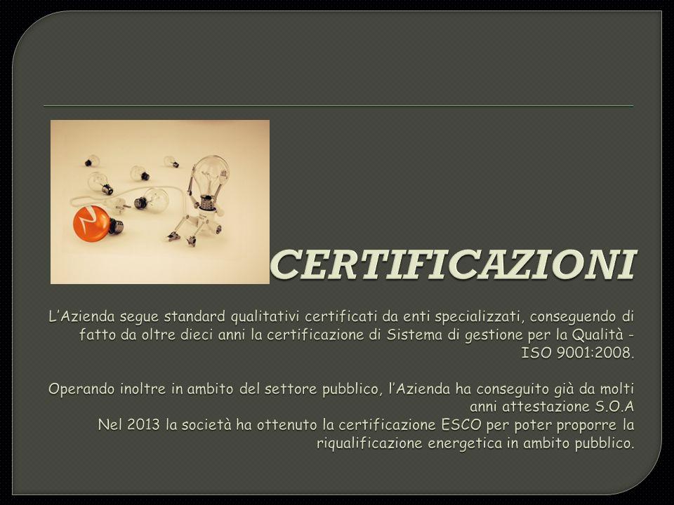 CERTIFICAZIONI L'Azienda segue standard qualitativi certificati da enti specializzati, conseguendo di fatto da oltre dieci anni la certificazione di Sistema di gestione per la Qualità - ISO 9001:2008.