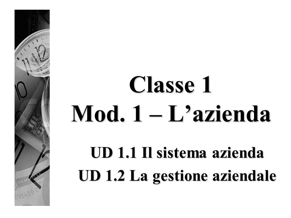 UD 1.1 Il sistema azienda UD 1.2 La gestione aziendale