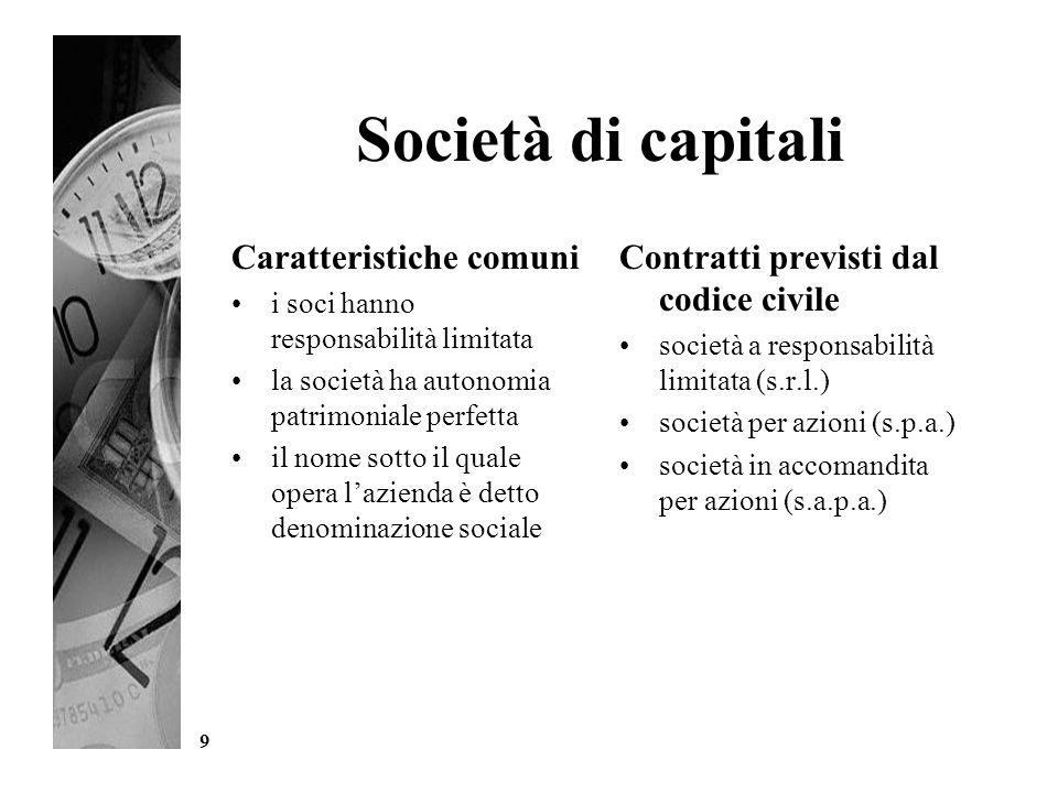 Società di capitali Caratteristiche comuni