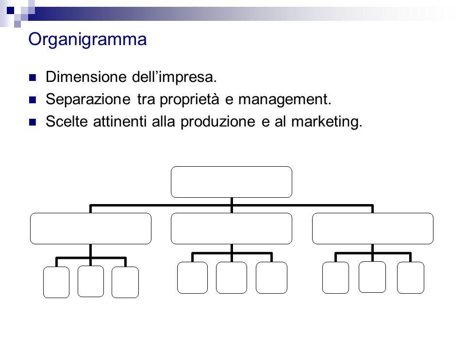 Organigramma Dimensione dell'impresa.