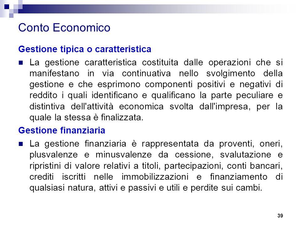 Conto Economico Gestione tipica o caratteristica