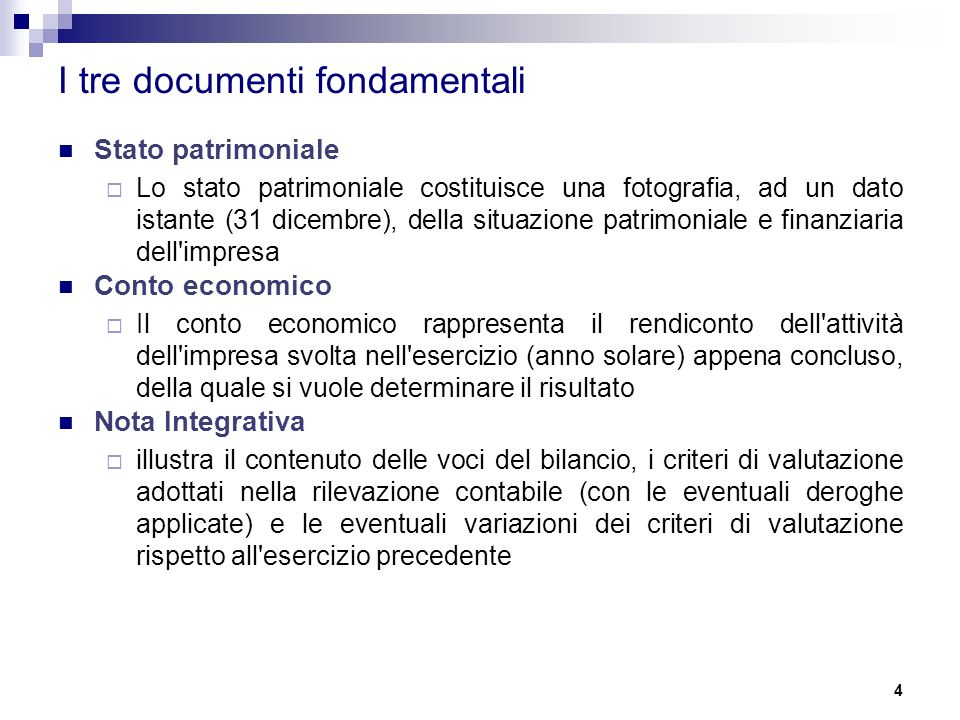 I tre documenti fondamentali