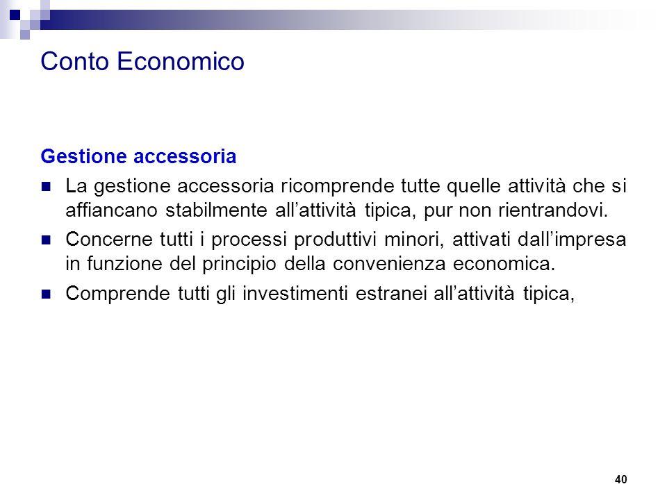 Conto Economico Gestione accessoria