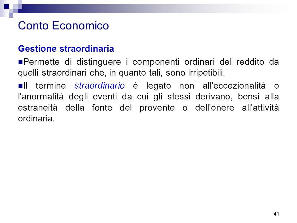 Conto Economico Gestione straordinaria