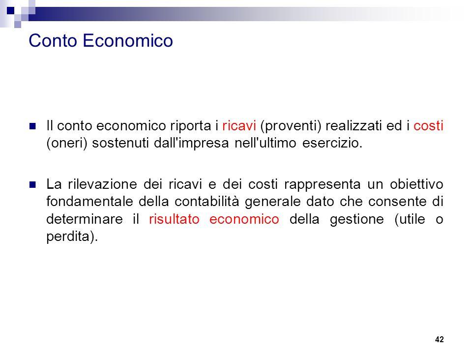 Conto Economico Il conto economico riporta i ricavi (proventi) realizzati ed i costi (oneri) sostenuti dall impresa nell ultimo esercizio.