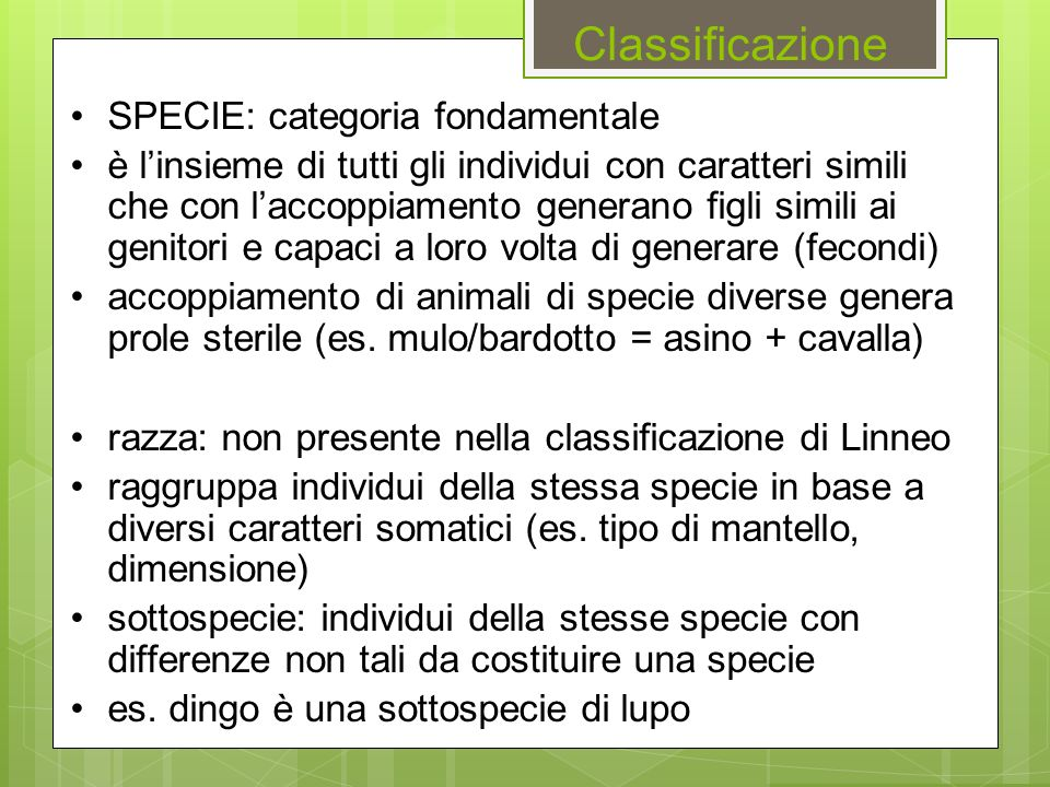 Classificazione SPECIE: categoria fondamentale