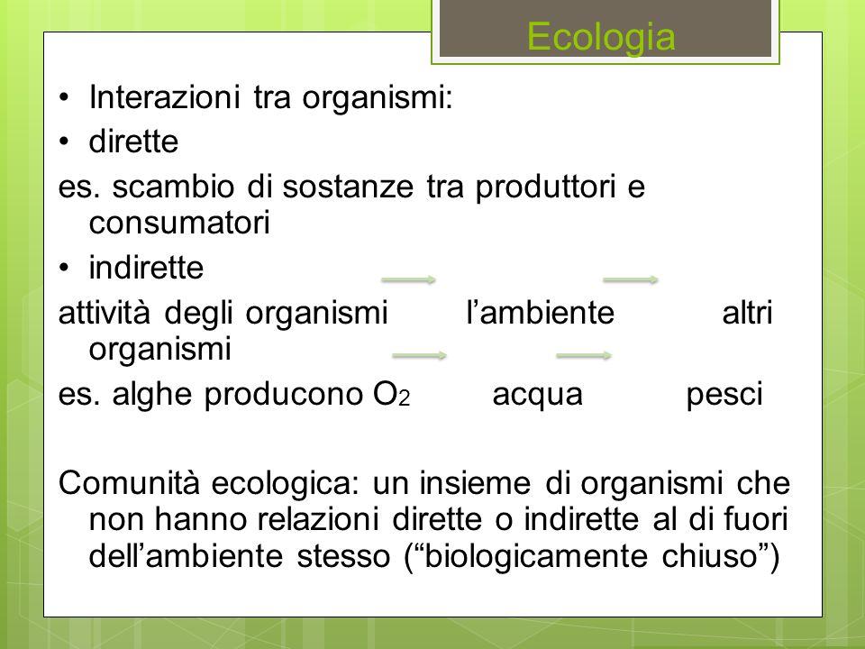 Ecologia Interazioni tra organismi: dirette