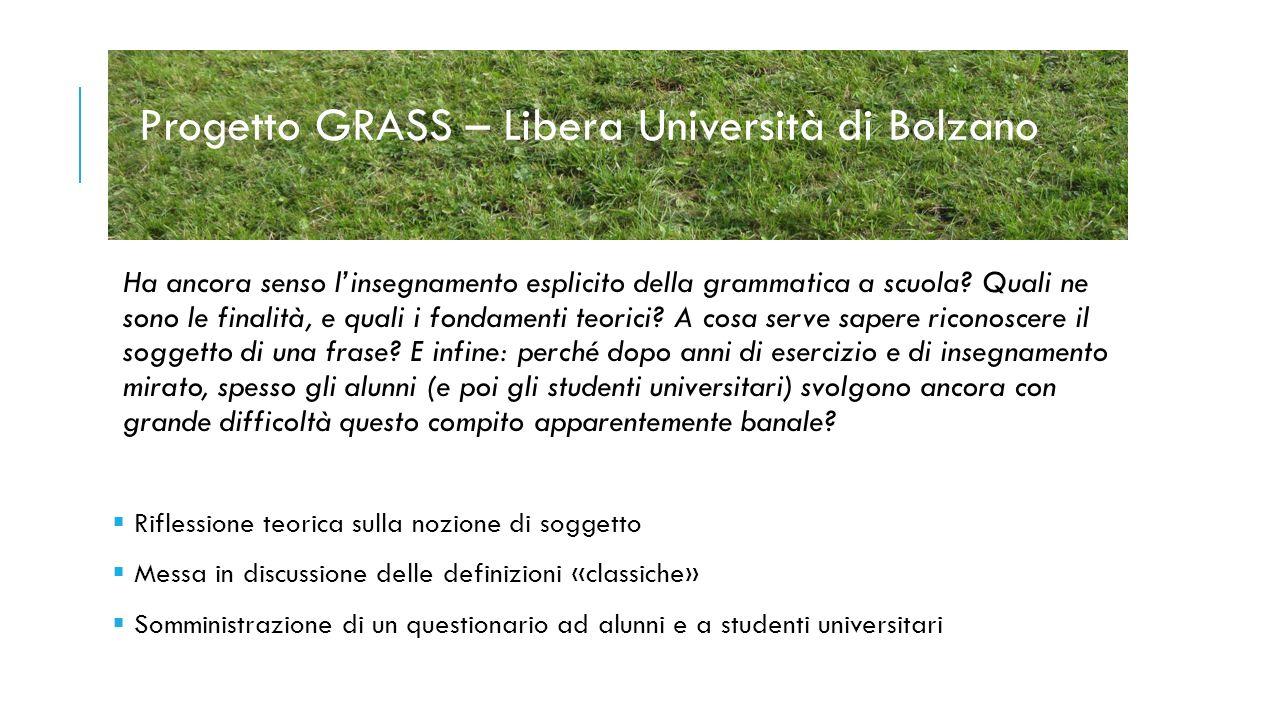 Progetto GRASS – Libera Università di Bolzano