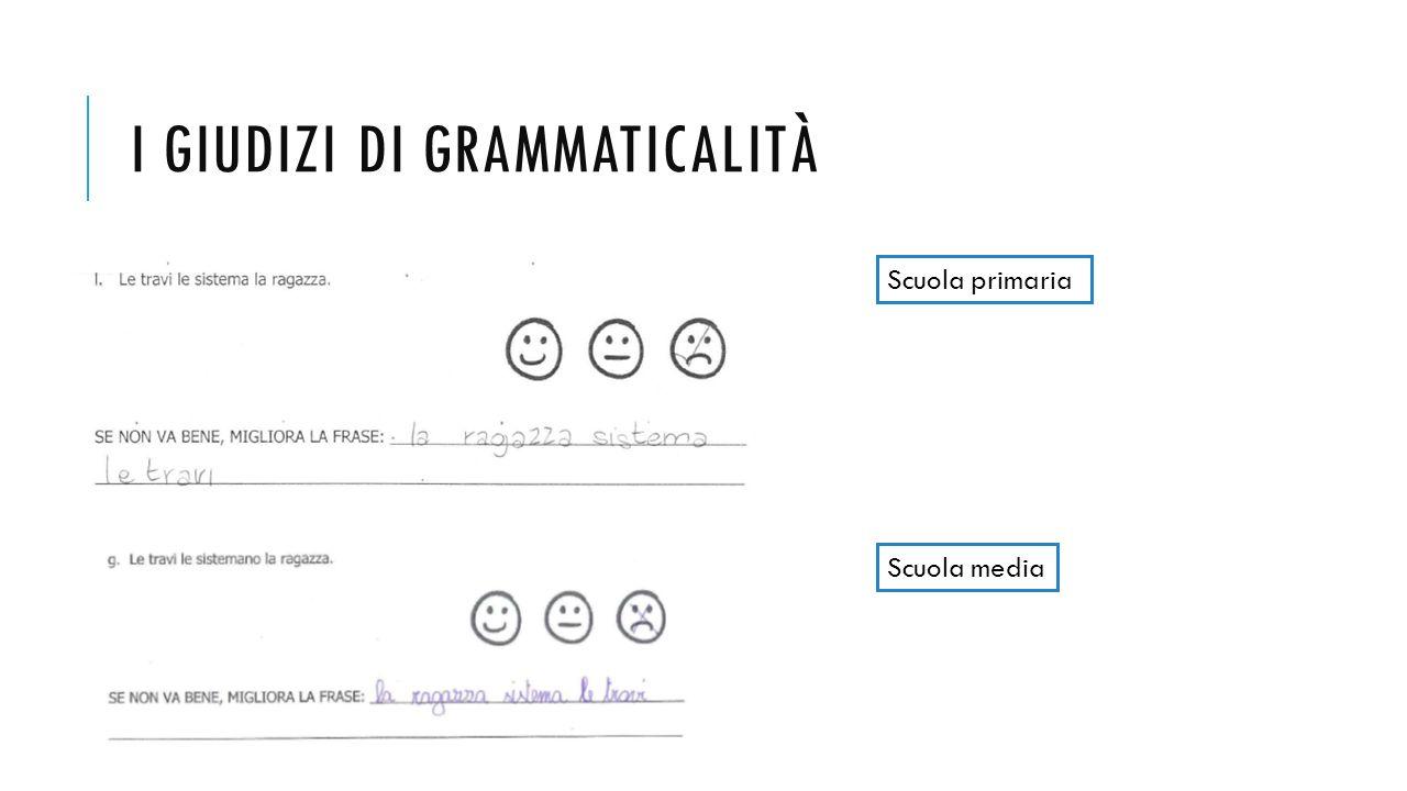 I giudizi di grammaticalità