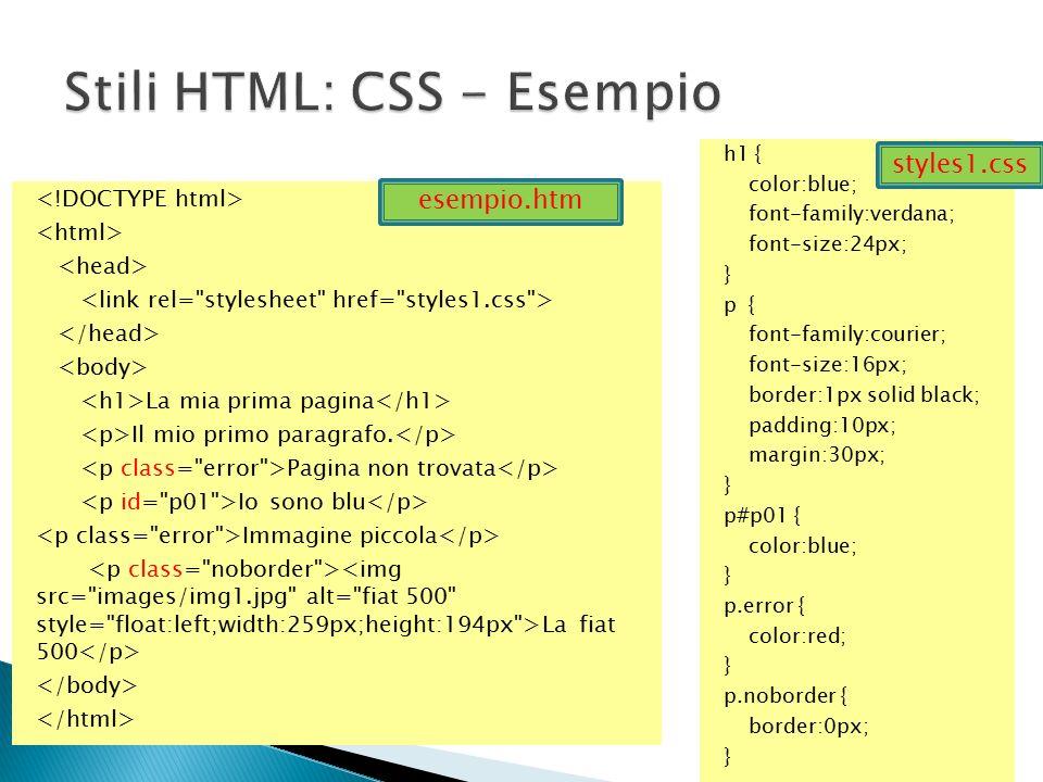 Stili HTML: CSS - Esempio